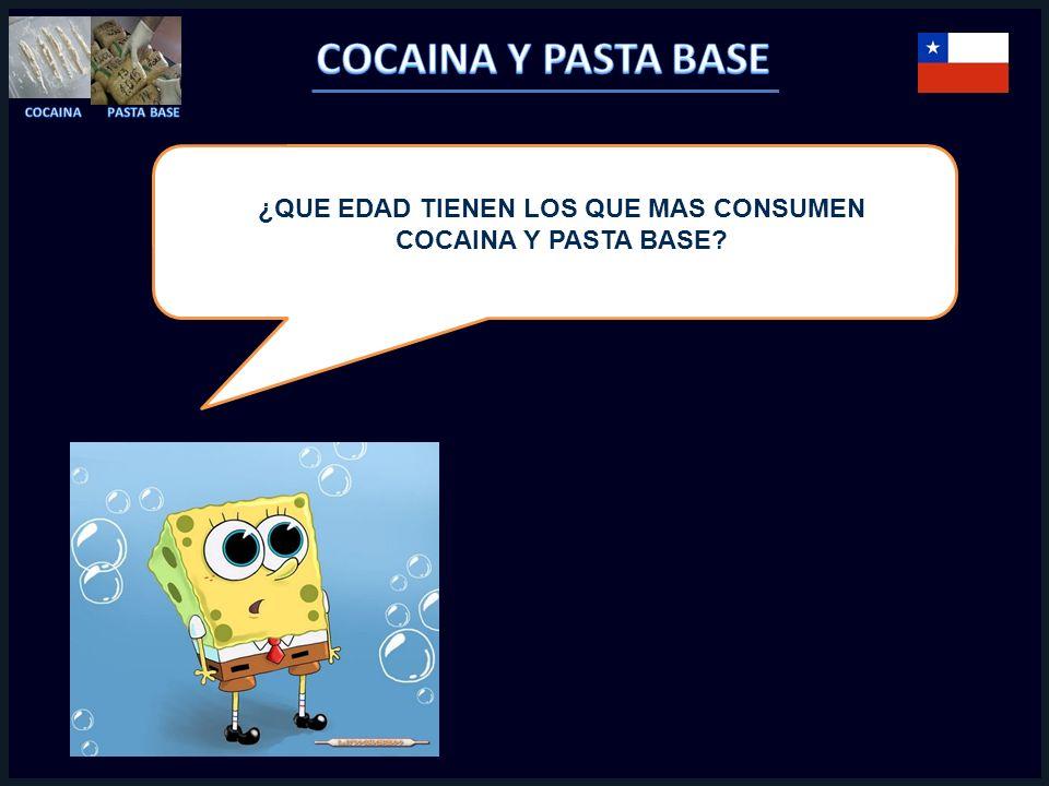 ¿QUE EDAD TIENEN LOS QUE MAS CONSUMEN COCAINA Y PASTA BASE