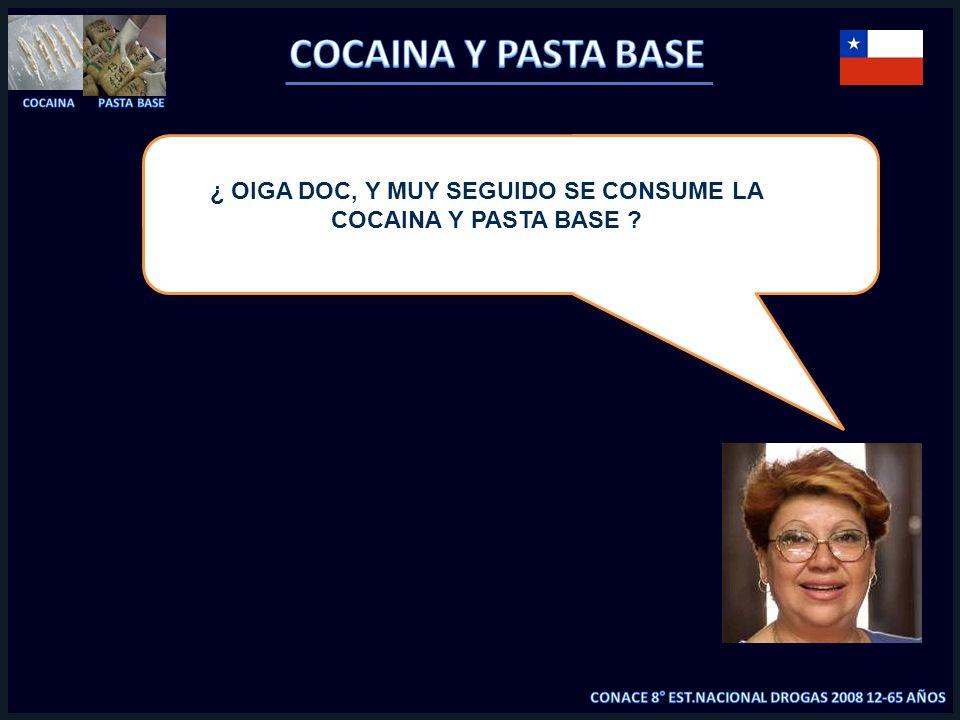 ¿ OIGA DOC, Y MUY SEGUIDO SE CONSUME LA COCAINA Y PASTA BASE ?
