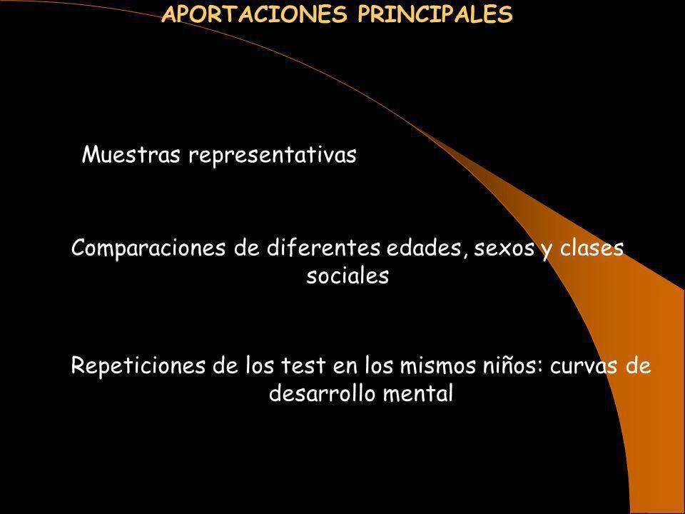 APORTACIONES PRINCIPALES Muestras representativas Comparaciones de diferentes edades, sexos y clases sociales Repeticiones de los test en los mismos n