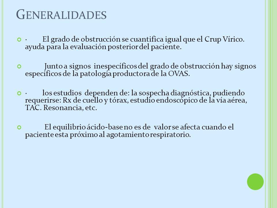 G ENERALIDADES · El grado de obstrucción se cuantifica igual que el Crup Vírico. ayuda para la evaluación posterior del paciente. Junto a signos inesp