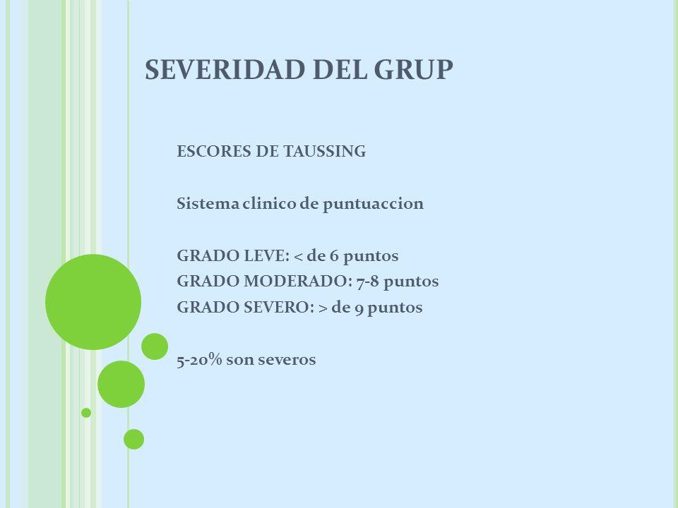 SEVERIDAD DEL GRUP ESCORES DE TAUSSING Sistema clinico de puntuaccion GRADO LEVE: < de 6 puntos GRADO MODERADO: 7-8 puntos GRADO SEVERO: > de 9 puntos