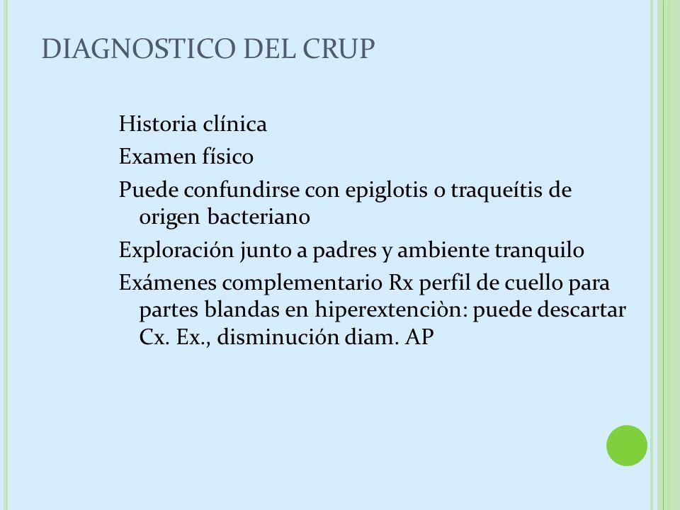 DIAGNOSTICO DEL CRUP Historia clínica Examen físico Puede confundirse con epiglotis o traqueítis de origen bacteriano Exploración junto a padres y amb