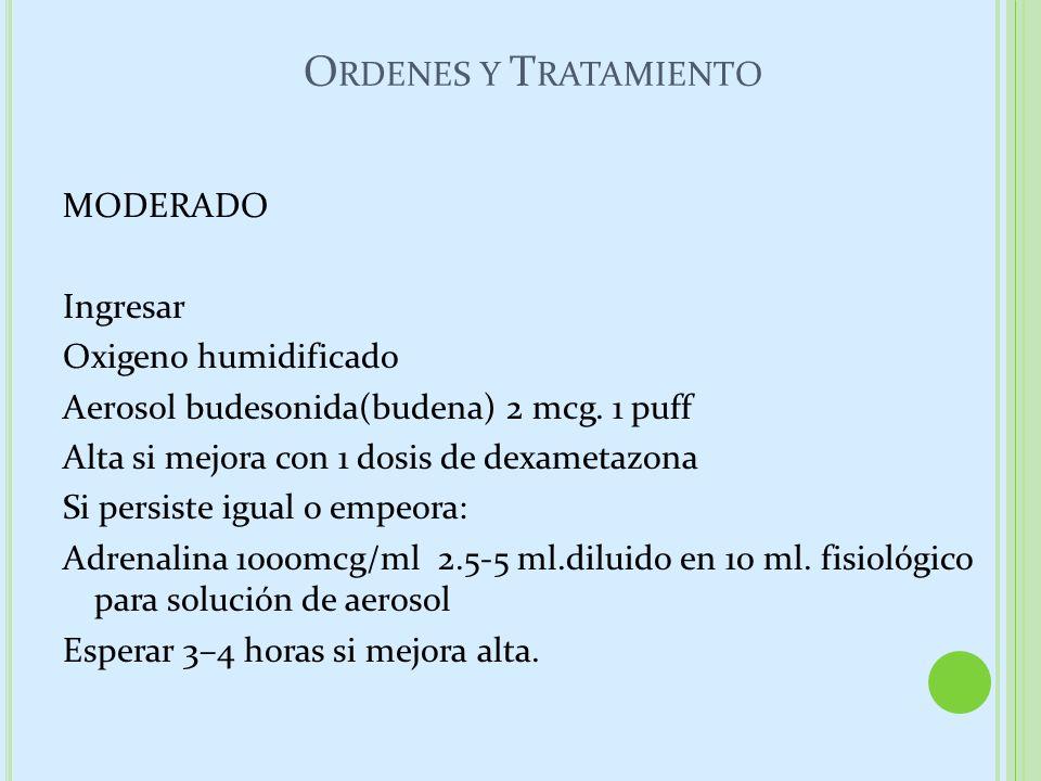 O RDENES Y T RATAMIENTO MODERADO Ingresar Oxigeno humidificado Aerosol budesonida(budena) 2 mcg. 1 puff Alta si mejora con 1 dosis de dexametazona Si