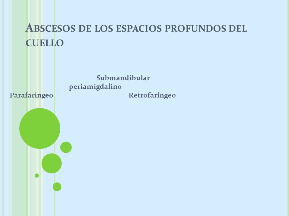 A BSCESOS DE LOS ESPACIOS PROFUNDOS DEL CUELLO Submandibular periamigdalino Parafaringeo Retrofaringeo