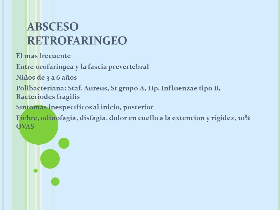 ABSCESO RETROFARINGEO El mas frecuente Entre orofaríngea y la fascia prevertebral Niños de 3 a 6 años Polibacteriana: Staf. Aureus, St grupo A, Hp. In