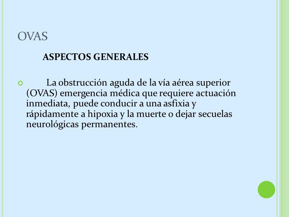 OVAS ASPECTOS GENERALES La obstrucción aguda de la vía aérea superior (OVAS) emergencia médica que requiere actuación inmediata, puede conducir a una