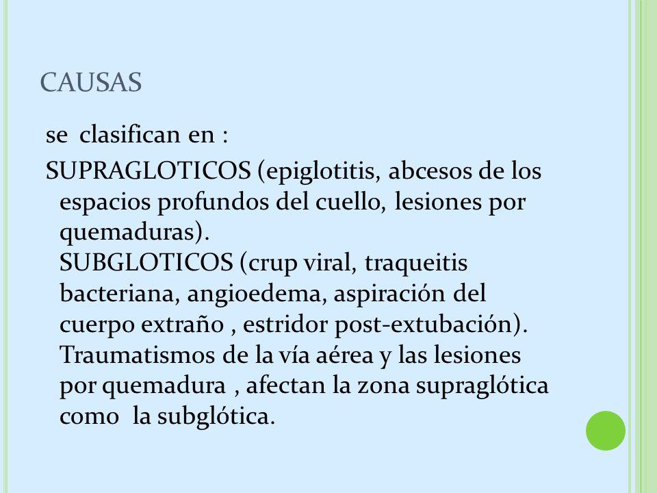 CAUSAS se clasifican en : SUPRAGLOTICOS (epiglotitis, abcesos de los espacios profundos del cuello, lesiones por quemaduras). SUBGLOTICOS (crup viral,