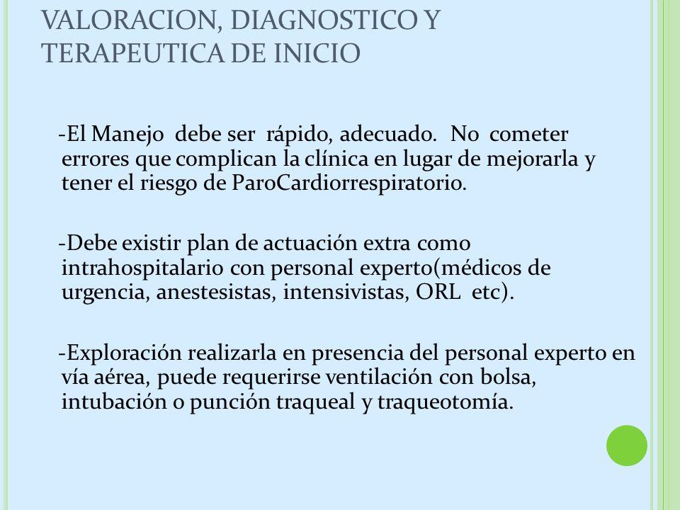 VALORACION, DIAGNOSTICO Y TERAPEUTICA DE INICIO -El Manejo debe ser rápido, adecuado. No cometer errores que complican la clínica en lugar de mejorarl