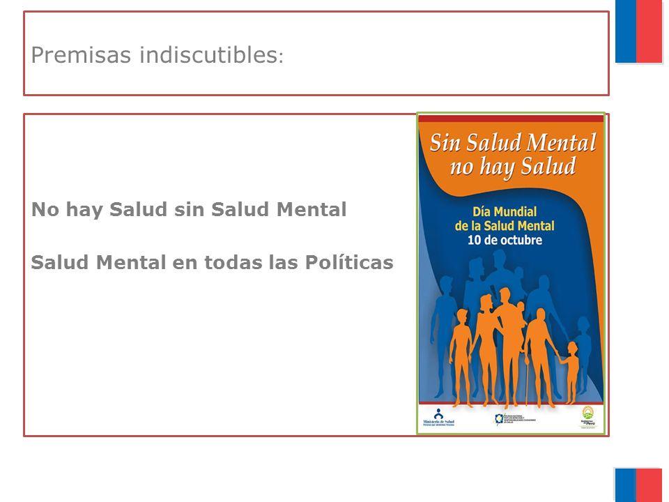 Premisas indiscutibles : No hay Salud sin Salud Mental Salud Mental en todas las Políticas