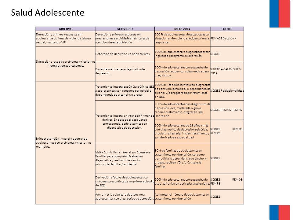 Salud Adolescente OBJETIVOACTIVIDADMETA 2014FUENTE Detección y primera respuesta en adolescente víctimas de violencia (abuso sexual, maltrato o VIF.