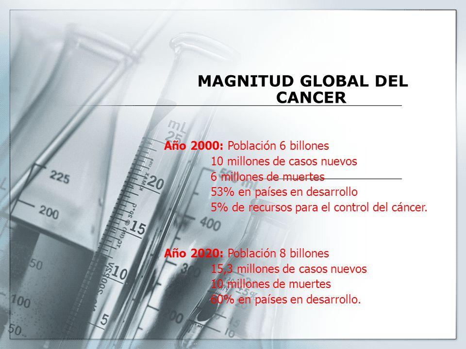 MAGNITUD GLOBAL DEL CANCER Año 2000: Población 6 billones 10 millones de casos nuevos 6 millones de muertes 53% en países en desarrollo 5% de recursos para el control del cáncer.