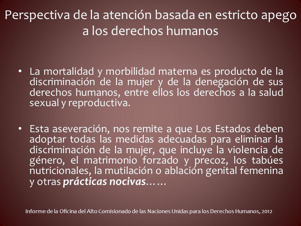 Perspectiva de la atención basada en estricto apego a los derechos humanos La mortalidad y morbilidad materna es producto de la discriminación de la m