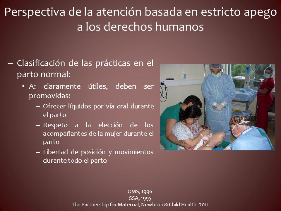 Perspectiva de la atención basada en estricto apego a los derechos humanos – Clasificación de las prácticas en el parto normal: A: claramente útiles,