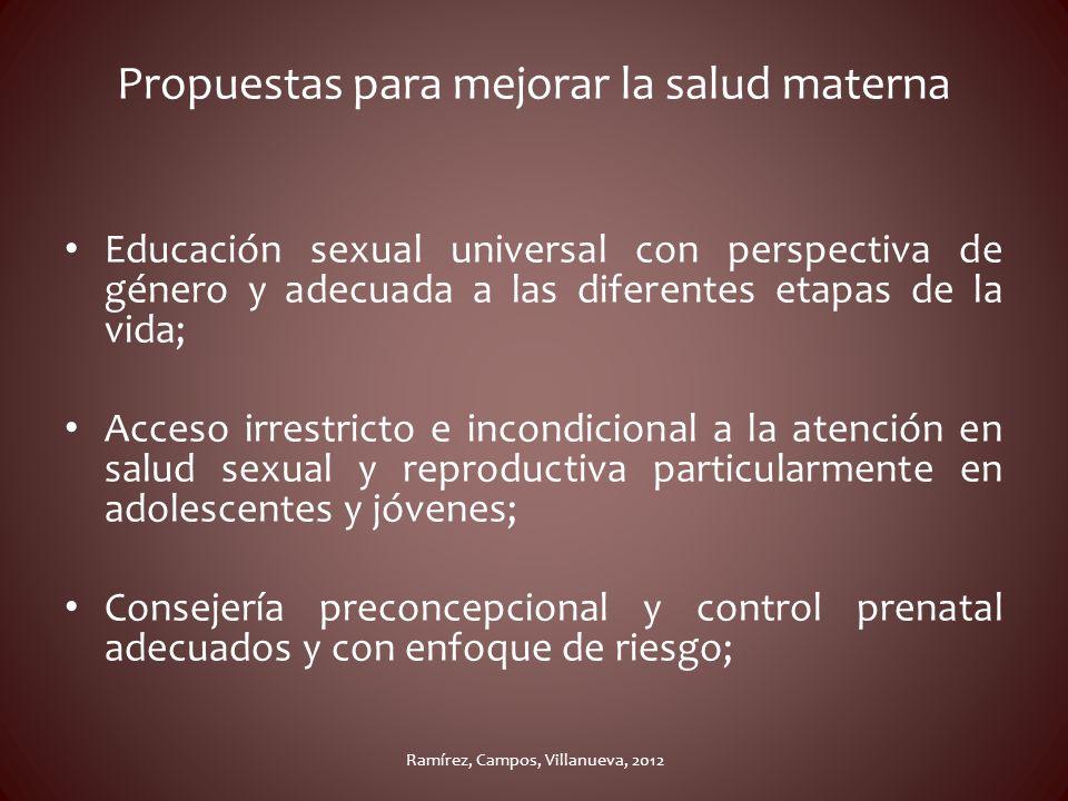Propuestas para mejorar la salud materna Educación sexual universal con perspectiva de género y adecuada a las diferentes etapas de la vida; Acceso ir