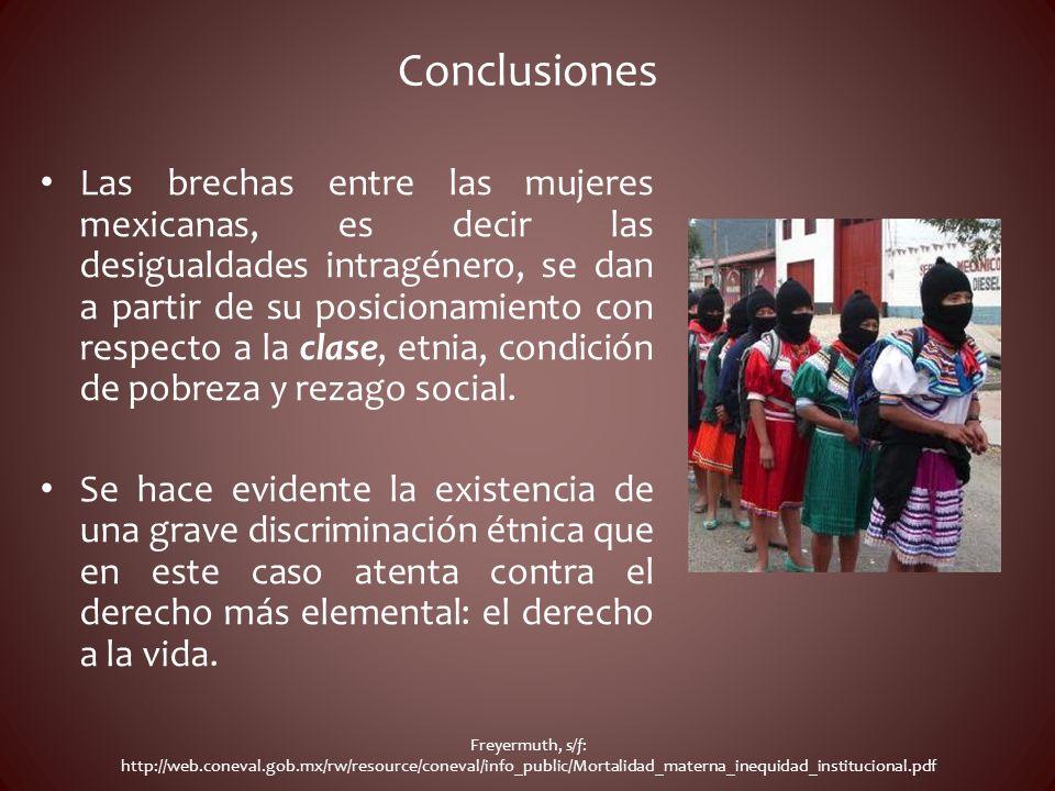 Conclusiones Las brechas entre las mujeres mexicanas, es decir las desigualdades intragénero, se dan a partir de su posicionamiento con respecto a la