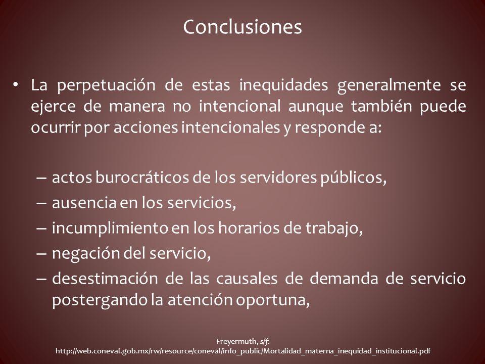 Conclusiones La perpetuación de estas inequidades generalmente se ejerce de manera no intencional aunque también puede ocurrir por acciones intenciona
