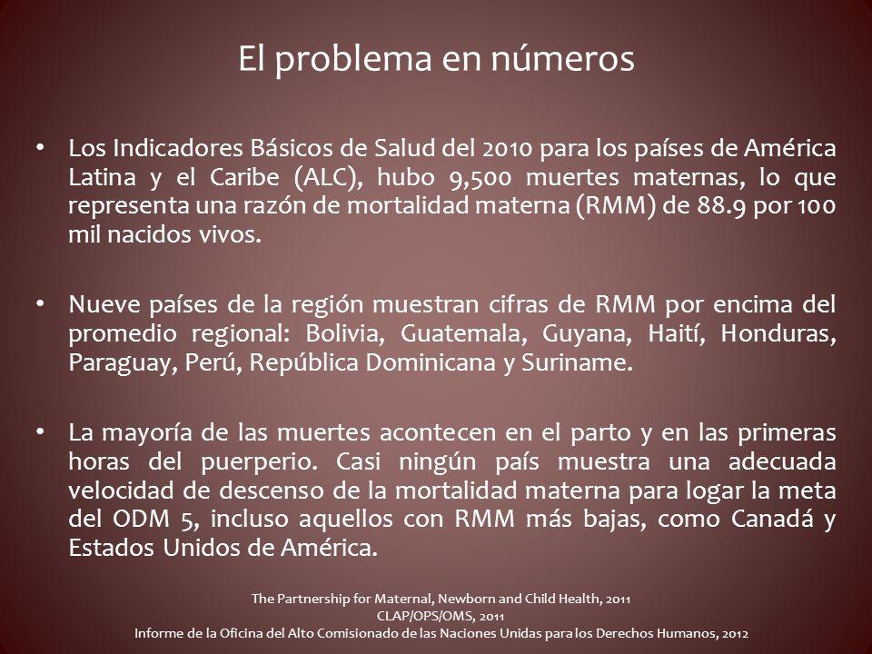 El problema en números Los Indicadores Básicos de Salud del 2010 para los países de América Latina y el Caribe (ALC), hubo 9,500 muertes maternas, lo