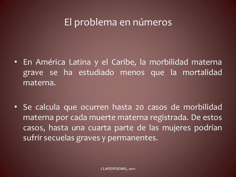 El problema en números En América Latina y el Caribe, la morbilidad materna grave se ha estudiado menos que la mortalidad materna. Se calcula que ocur