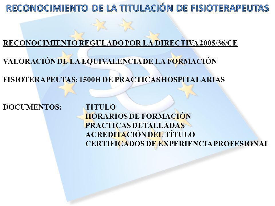RECONOCIMIENTO REGULADO POR LA DIRECTIVA 2005/36/CE VALORACIÓN DE LA EQUIVALENCIA DE LA FORMACIÓN FISIOTERAPEUTAS: 1500H DE PRACTICAS HOSPITALARIAS DOCUMENTOS:TITULO HORARIOS DE FORMACIÓN PRACTICAS DETALLADAS ACREDITACIÓN DEL TÍTULO CERTIFICADOS DE EXPERIENCIA PROFESIONAL