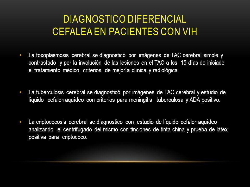 DIAGNOSTICO DIFERENCIAL CEFALEA EN PACIENTES CON VIH La toxoplasmosis cerebral se diagnosticó por imágenes de TAC cerebral simple y contrastado y por