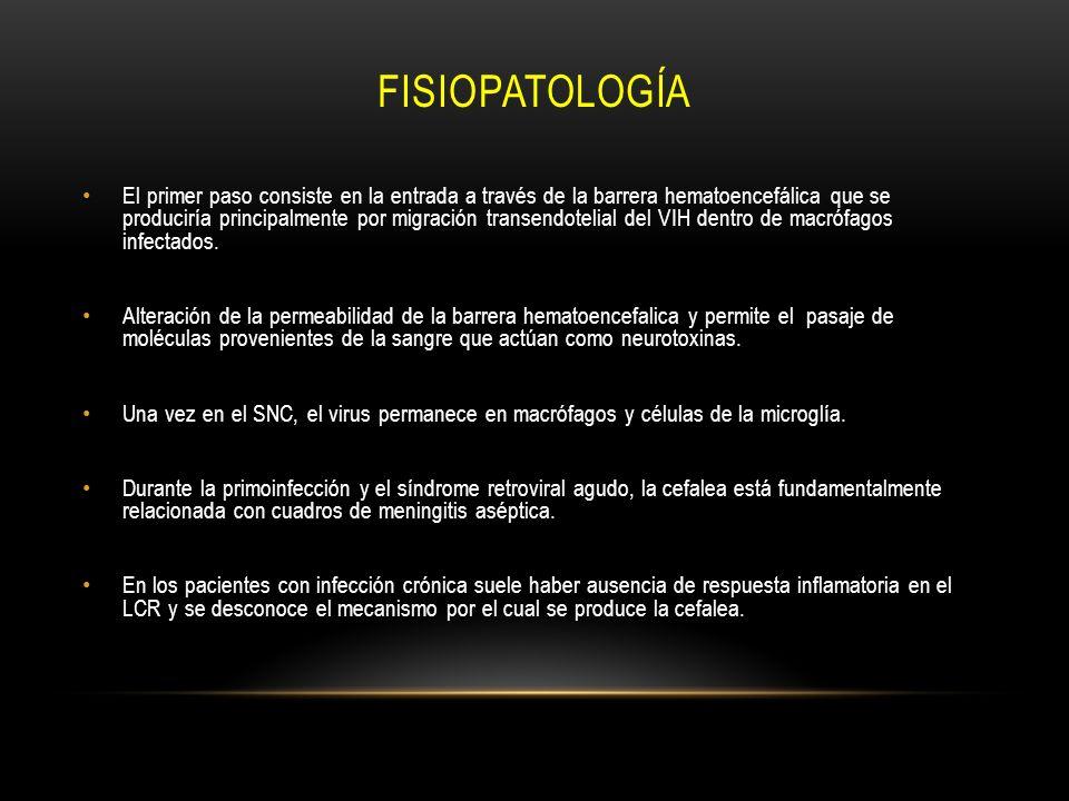 FISIOPATOLOGÍA El primer paso consiste en la entrada a través de la barrera hematoencefálica que se produciría principalmente por migración transendot