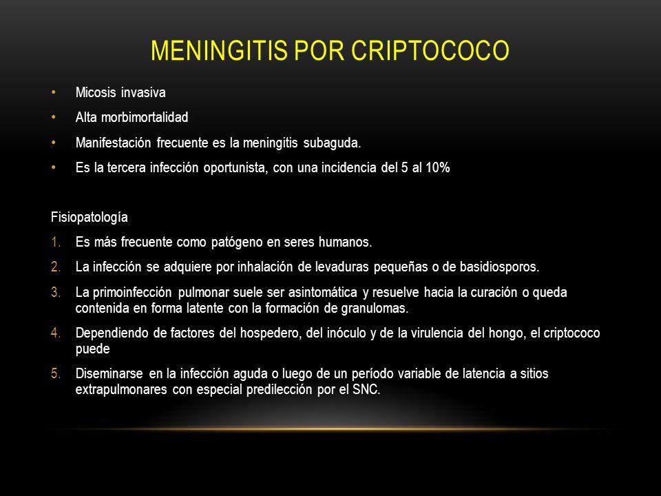 MENINGITIS POR CRIPTOCOCO Micosis invasiva Alta morbimortalidad Manifestación frecuente es la meningitis subaguda. Es la tercera infección oportunista