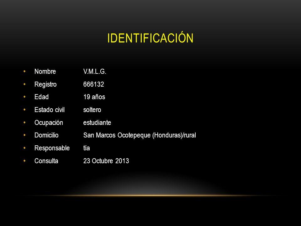 IDENTIFICACIÓN NombreV.M.L.G. Registro 666132 Edad19 años Estado civilsoltero Ocupaciónestudiante DomicilioSan Marcos Ocotepeque (Honduras)/rural Resp