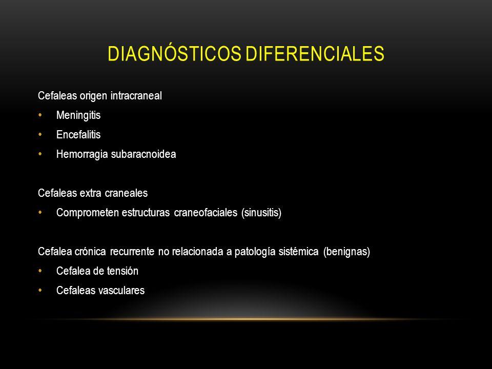 DIAGNÓSTICOS DIFERENCIALES Cefaleas origen intracraneal Meningitis Encefalitis Hemorragia subaracnoidea Cefaleas extra craneales Comprometen estructur