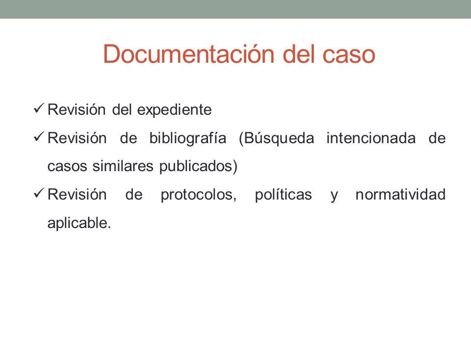 Documentación del caso Revisión del expediente Revisión de bibliografía (Búsqueda intencionada de casos similares publicados) Revisión de protocolos,