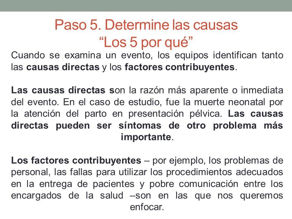 Paso 5. Determine las causas Los 5 por qué Cuando se examina un evento, los equipos identifican tanto las causas directas y los factores contribuyente