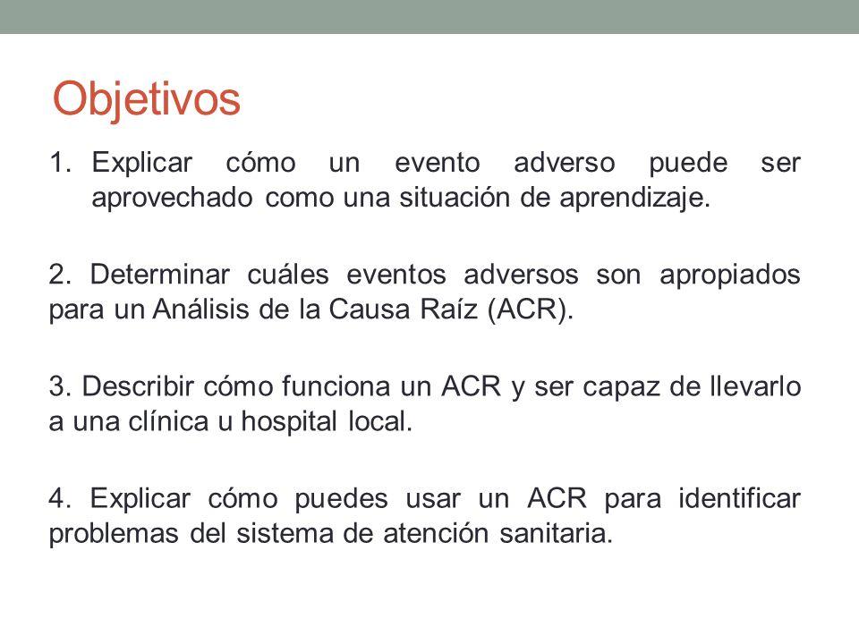 Objetivos 1.Explicar cómo un evento adverso puede ser aprovechado como una situación de aprendizaje. 2. Determinar cuáles eventos adversos son apropia