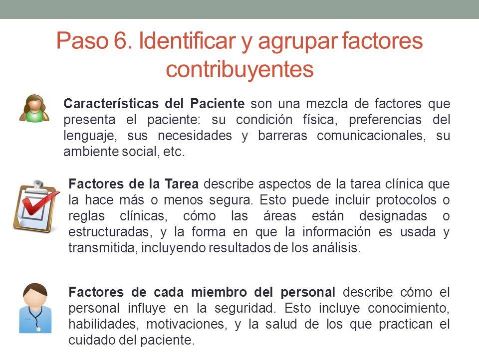 Paso 6. Identificar y agrupar factores contribuyentes Características del Paciente son una mezcla de factores que presenta el paciente: su condición f