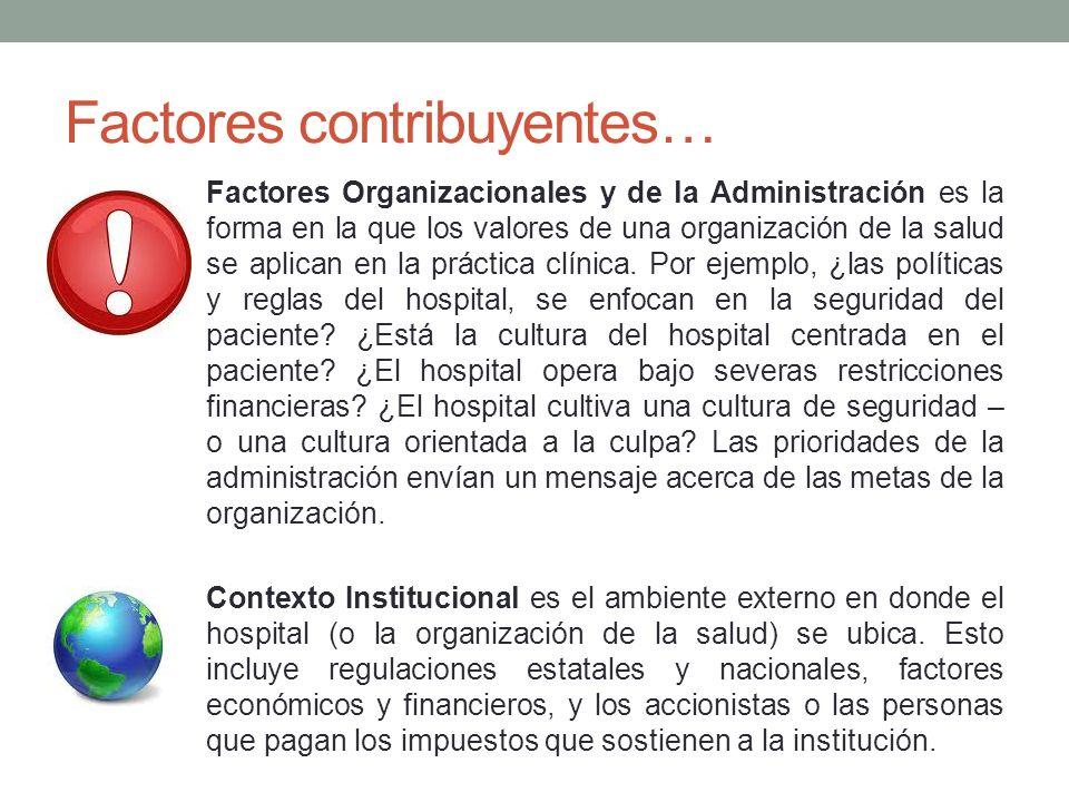 Factores contribuyentes… Factores Organizacionales y de la Administración es la forma en la que los valores de una organización de la salud se aplican