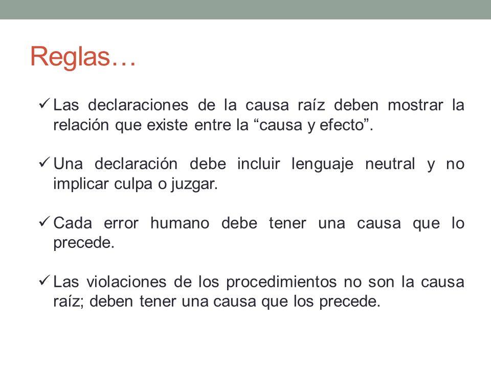 Reglas… Las declaraciones de la causa raíz deben mostrar la relación que existe entre la causa y efecto. Una declaración debe incluir lenguaje neutral