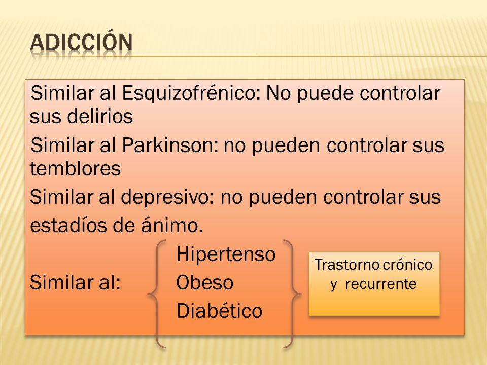 Similar al Esquizofrénico: No puede controlar sus delirios Similar al Parkinson: no pueden controlar sus temblores Similar al depresivo: no pueden con