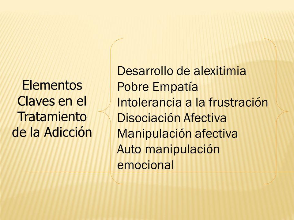 Elementos Claves en el Tratamiento de la Adicción Desarrollo de alexitimia Pobre Empatía Intolerancia a la frustración Disociación Afectiva Manipulaci
