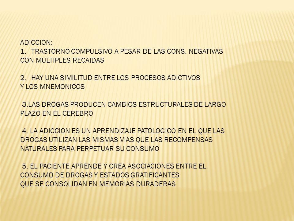 ADICCION: 1.TRASTORNO COMPULSIVO A PESAR DE LAS CONS. NEGATIVAS CON MULTIPLES RECAIDAS 2.HAY UNA SIMILITUD ENTRE LOS PROCESOS ADICTIVOS Y LOS MNEMONIC
