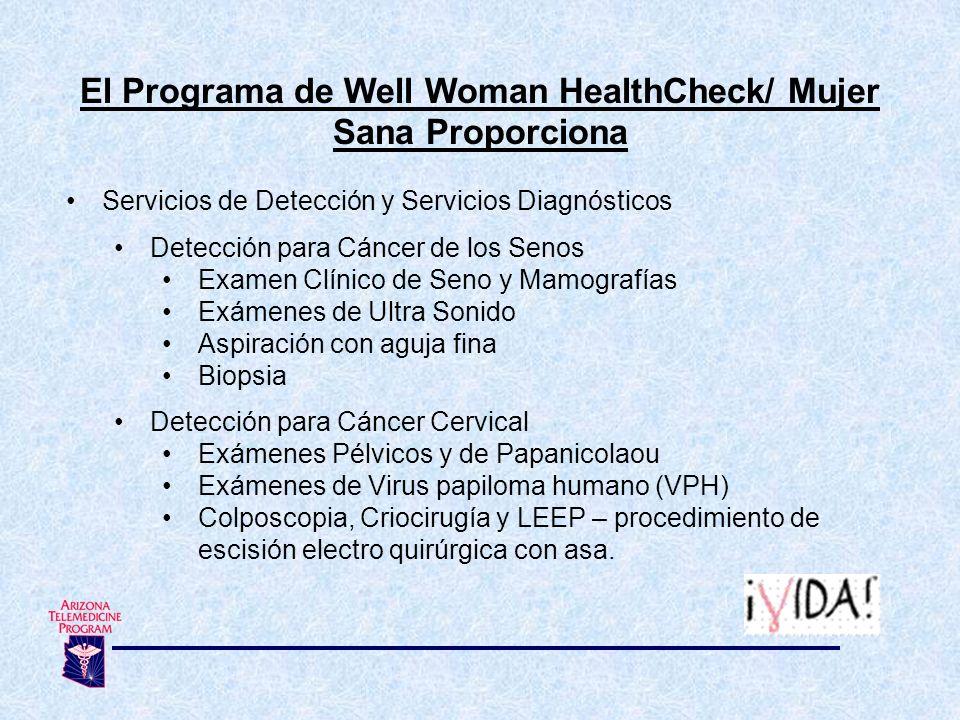El Programa de Well Woman HealthCheck/ Mujer Sana Proporciona Servicios de Detección y Servicios Diagnósticos Detección para Cáncer de los Senos Exame