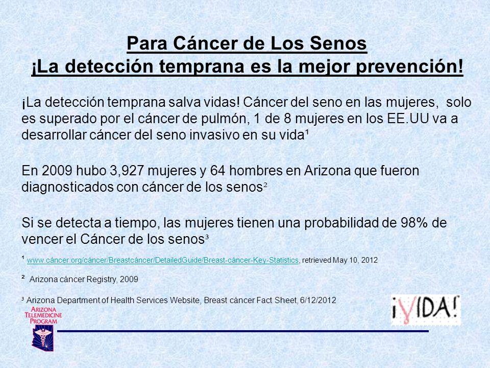 Para Cáncer de Los Senos ¡La detección temprana es la mejor prevención! ¡La detección temprana salva vidas! Cáncer del seno en las mujeres, solo es su