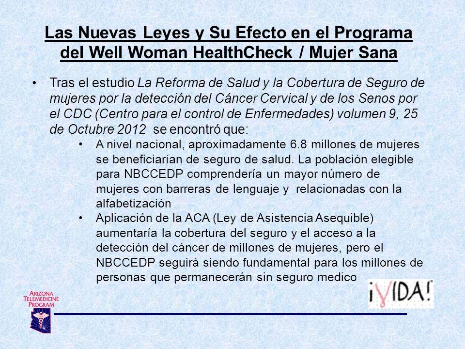 Las Nuevas Leyes y Su Efecto en el Programa del Well Woman HealthCheck / Mujer Sana Tras el estudio La Reforma de Salud y la Cobertura de Seguro de mu