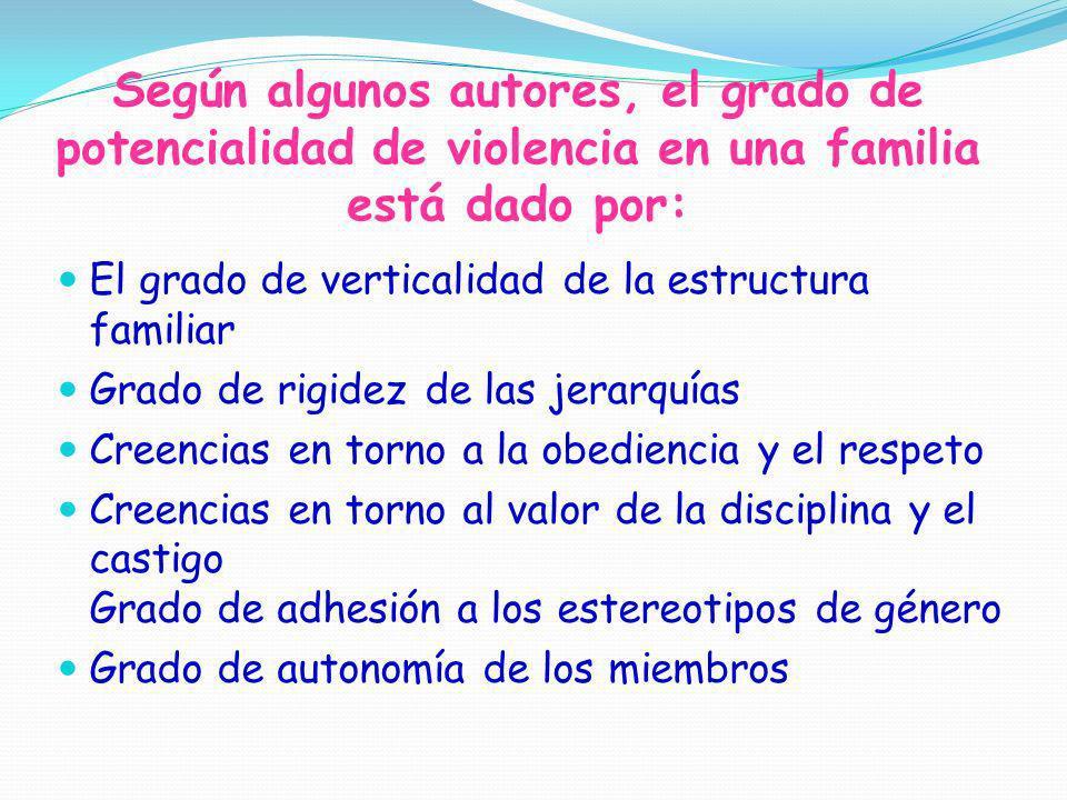 Según algunos autores, el grado de potencialidad de violencia en una familia está dado por: El grado de verticalidad de la estructura familiar Grado d