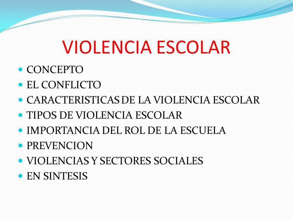 VIOLENCIA ESCOLAR CONCEPTO EL CONFLICTO CARACTERISTICAS DE LA VIOLENCIA ESCOLAR TIPOS DE VIOLENCIA ESCOLAR IMPORTANCIA DEL ROL DE LA ESCUELA PREVENCIO