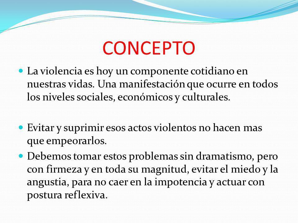 CONCEPTO La violencia es hoy un componente cotidiano en nuestras vidas. Una manifestación que ocurre en todos los niveles sociales, económicos y cultu