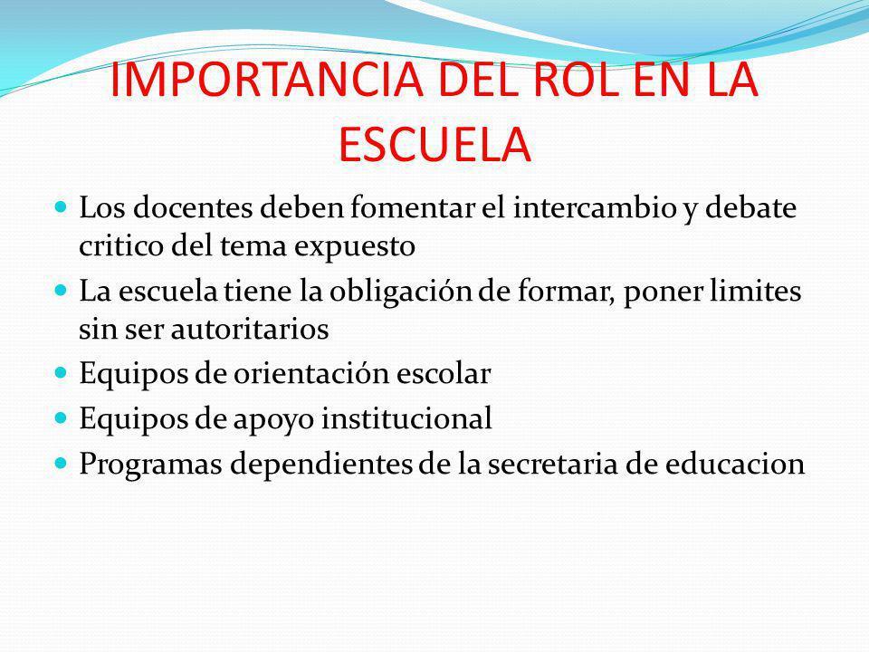 IMPORTANCIA DEL ROL EN LA ESCUELA Los docentes deben fomentar el intercambio y debate critico del tema expuesto La escuela tiene la obligación de form