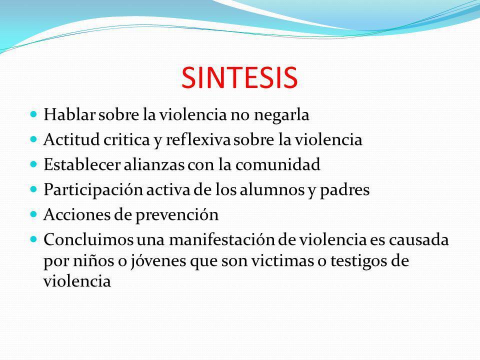 SINTESIS Hablar sobre la violencia no negarla Actitud critica y reflexiva sobre la violencia Establecer alianzas con la comunidad Participación activa
