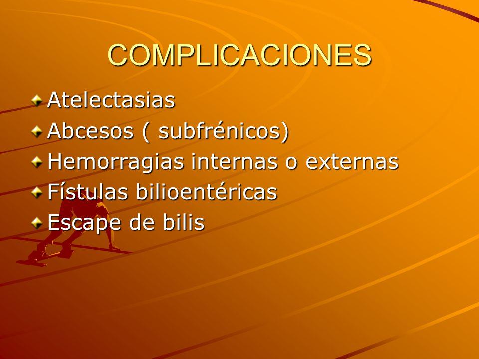 COMPLICACIONES Atelectasias Abcesos ( subfrénicos) Hemorragias internas o externas Fístulas bilioentéricas Escape de bilis