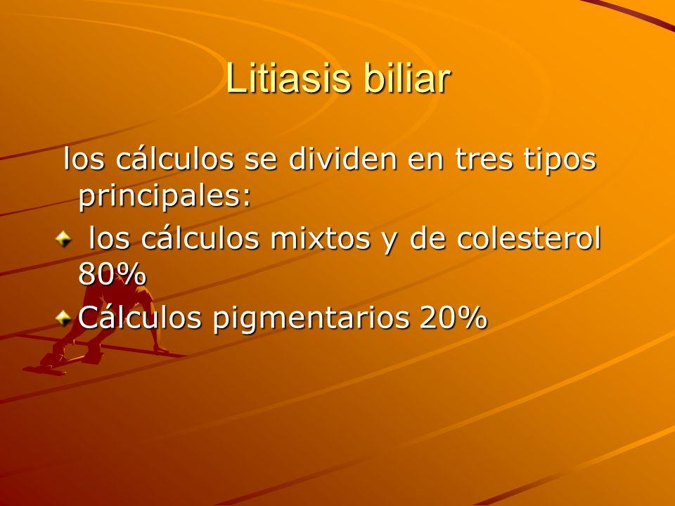 Litiasis biliar los cálculos se dividen en tres tipos principales: los cálculos se dividen en tres tipos principales: los cálculos mixtos y de colesterol 80% los cálculos mixtos y de colesterol 80% Cálculos pigmentarios 20%