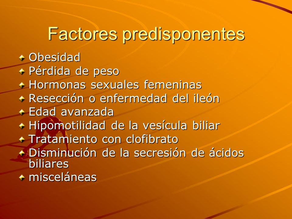Factores predisponentes Obesidad Pérdida de peso Hormonas sexuales femeninas Resección o enfermedad del ileón Edad avanzada Hipomotilidad de la vesícu