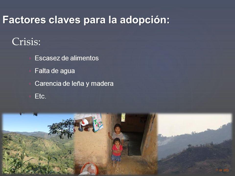 Factores claves para la adopción: Escasez de alimentos Falta de agua Carencia de leña y madera Etc. Crisis: