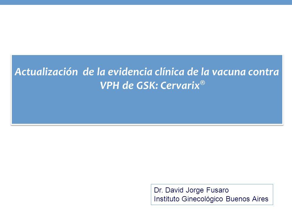 Sujetos DNA negativo basal para el tipo correspondiente; N = números de mujeres evaluables en cada grupo; n = número de mujeres evaluables reportando al menos un evento en cada grupo CohorteTVC naïve ; Asignación de tipos de VPH Eficacia de Cervarix contra otros tipos oncogénicos no incluidos en la vacuna para NIC2+ Tipo VPHGrupo Análisis de Fin de Estudio Nn Eficacia% IC 95% VPH-31 vacuna54663 89.4 (65.5, 97.9) control545228 VPH-33 vacuna54665 82.3 (53.4, 94.7) control545228 VPH-45 vacuna54660 100.0 (41.7; 100.0) control54528 Fin-de-estudio (48 meses) Wheeler c et al.